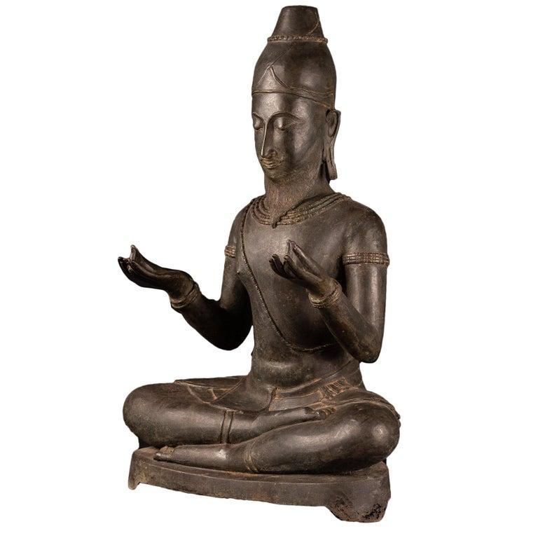 "Monumental Antique Bronze ""Wheel of Dharma"" Spiritual Teacher For Sale"