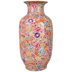 Monumental Antique Chinese Porcelain Qing Dynasty Thousand Flowers Vase, 1900