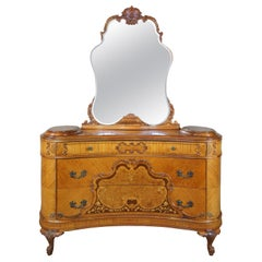 Monumental Antique French Art Deco Walnut Burled Vanity Dresser and Mirror