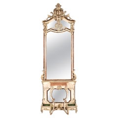 Monumental Antique French Silver Leaf Gilded Mirror with Console Table