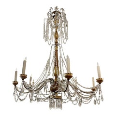 Monumental Antique Italian Giltwood Chandelier, Therien Collection