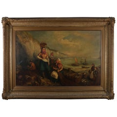 Monumental Antique Italian Oil on Canvas Genre Scene at Harbor, 19th Century