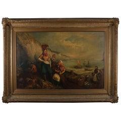 Monumental Antique Italian Oil on Canvas Genre Scene at Harbor, 19th Century