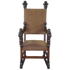 Monumental Antique Italian Renaissance Victorian Figural Cherub Throne Arm Chair