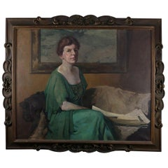 Monumental Antique Oil on Canvas Portrait Painting by David Wilcox, circa 1918