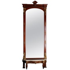 Monumental Antique Parcel-Gilt Walnut Pier Mirror with Carved Jenny Lind