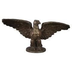 Monumental Antique Roman Bronze Works Gilt American Bald Eagle Sculpture Statue