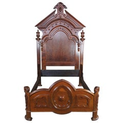 Monumental Antique Victorian Carved Walnut Highback Full Bed Lincoln Style