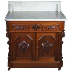 Monumental Antique Victorian Eastlake Carved Walnut Marble Washstand Nightstand