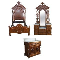 Monumental Antique Victorian Eastlake Walnut Bedroom Set Dresser Washstand Bed