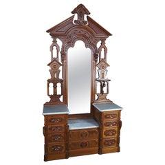 Monumental Antique Victorian Eastlake Walnut Dresser & Mirror Marble Top