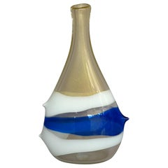 Monumental Anzolo Fuga Avem Vase Bands Murano Art Glass Gold White Blue 1950s