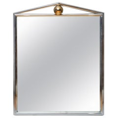 Monumental Architectural Chrome and Brass Mirror