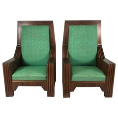 Monumental Art Deco Throne Chairs, Manufactured by the Henderson Ames Co.