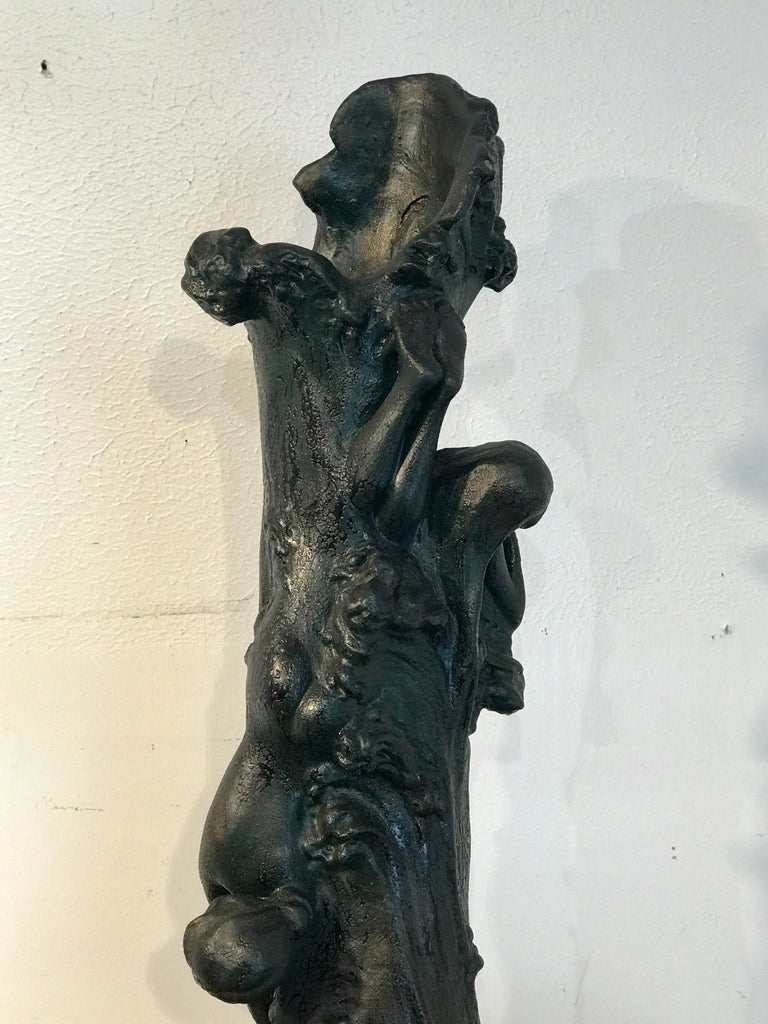 Monumental Art Nouveau Amphora Teplitz Mermaid Vase For Sale 5