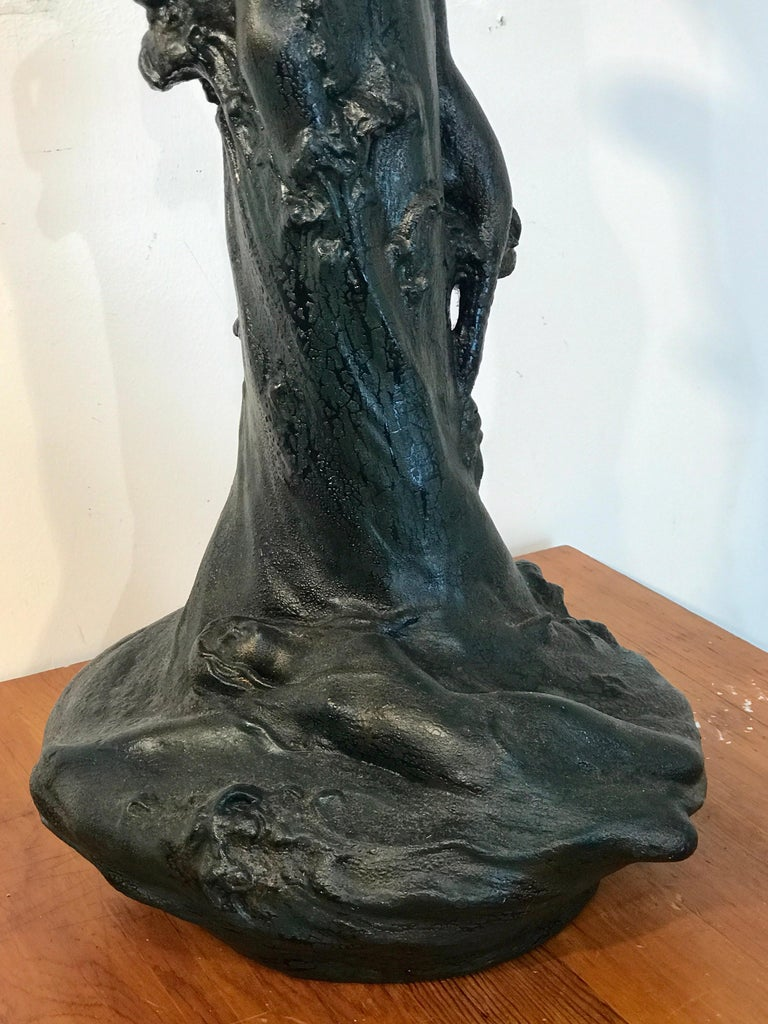 Monumental Art Nouveau Amphora Teplitz Mermaid Vase For Sale 9