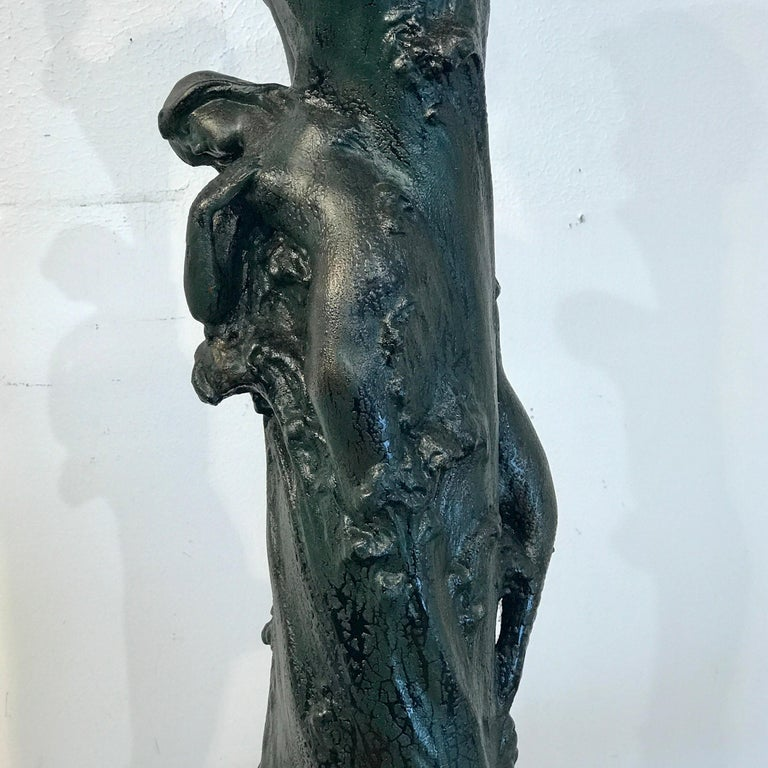 Austrian Monumental Art Nouveau Amphora Teplitz Mermaid Vase For Sale