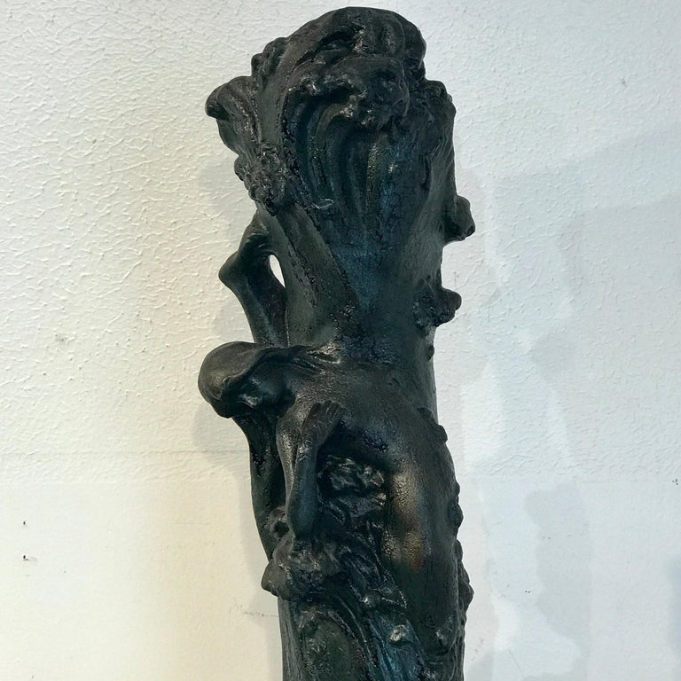 Glazed Monumental Art Nouveau Amphora Teplitz Mermaid Vase For Sale