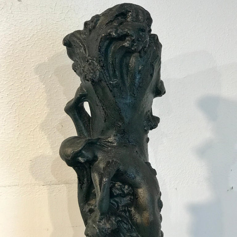 Monumental Art Nouveau Amphora Teplitz Mermaid Vase In Good Condition For Sale In West Palm Beach, FL