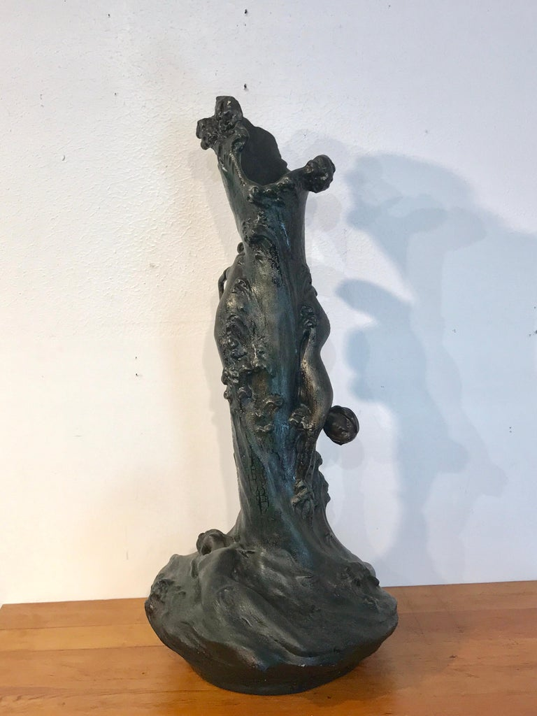 Monumental Art Nouveau Amphora Teplitz Mermaid Vase For Sale 1