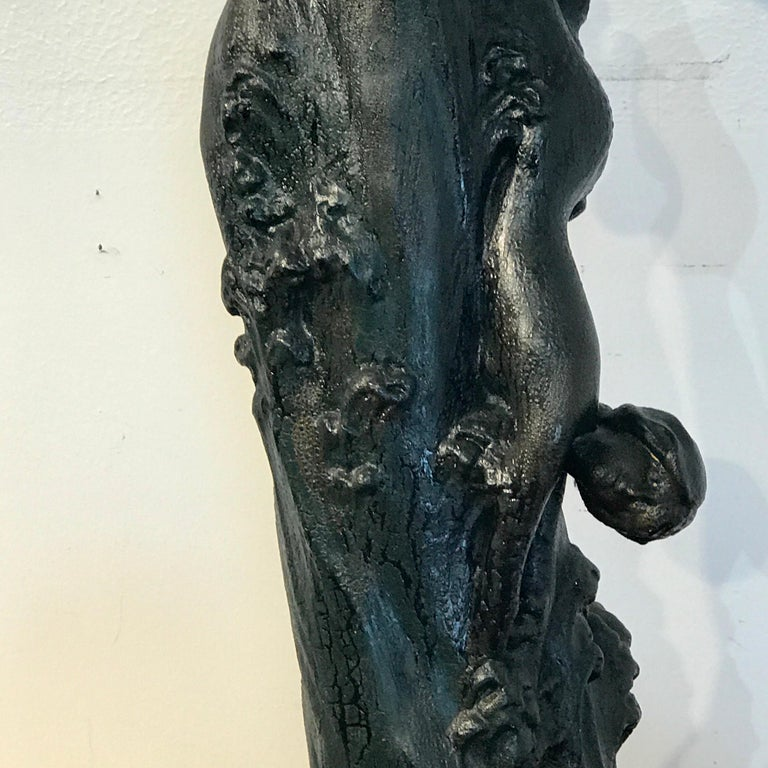 Monumental Art Nouveau Amphora Teplitz Mermaid Vase For Sale 2