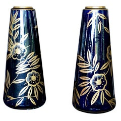 Monumental Art Nouveau Cobalt Blue and Gold Vases by Gustave Asch, Pair