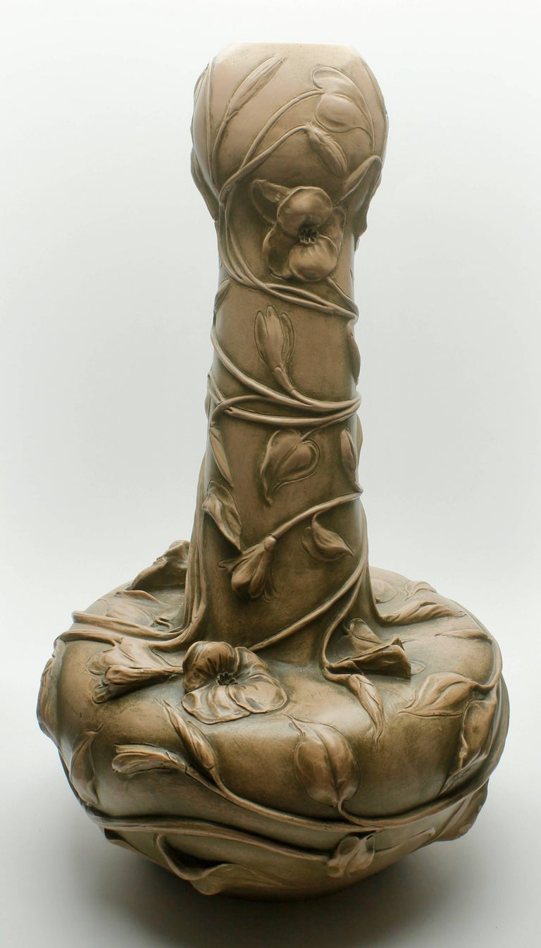 French Monumental Art Nouveau Vase with Figural Flowers in the Style of Royal Dux For Sale