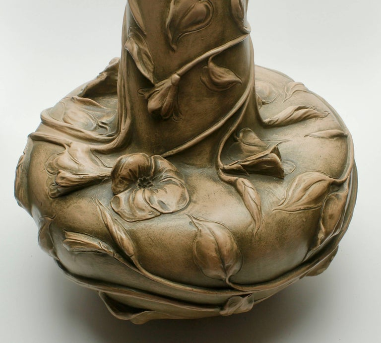 Hand-Crafted Monumental Art Nouveau Vase with Figural Flowers in the Style of Royal Dux For Sale