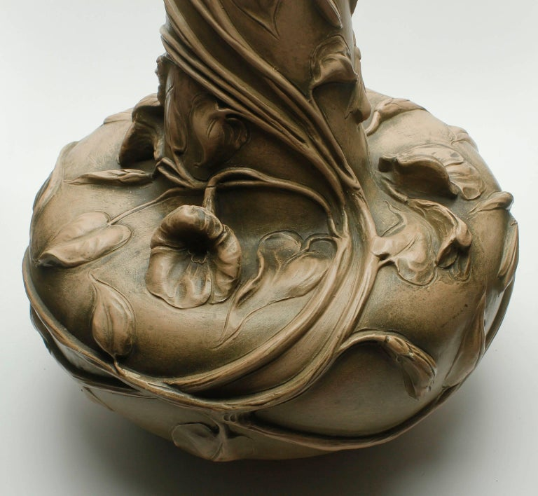 Ceramic Monumental Art Nouveau Vase with Figural Flowers in the Style of Royal Dux For Sale