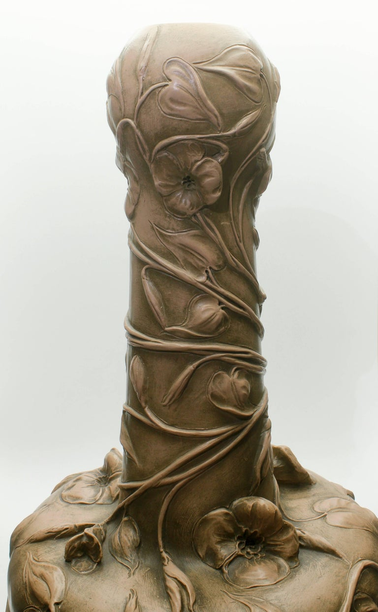 Monumental Art Nouveau Vase with Figural Flowers in the Style of Royal Dux For Sale 2