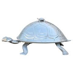 Monumental Arthur Court Silver Aluminum Turtle / Tortoise Serving Centerpiece