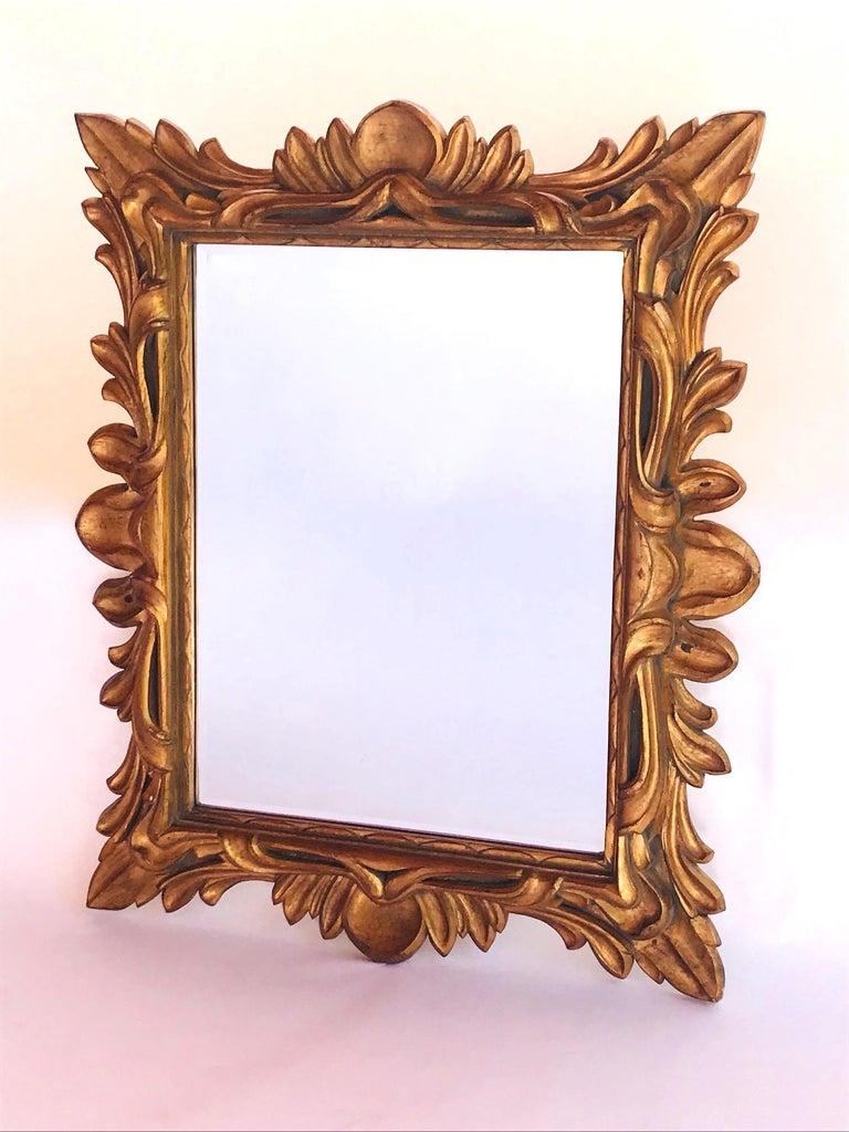 Monumental Baroque Gold Leaf Mirror with Ornate Carved Frame For Sale 7