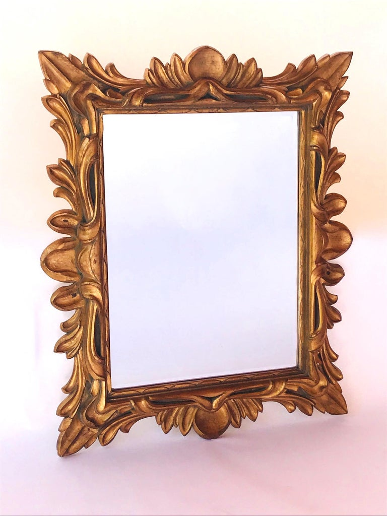 Italian Monumental Baroque Gold Leaf Mirror with Ornate Carved Frame For Sale