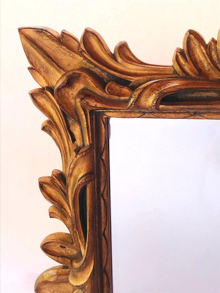 Beveled Monumental Baroque Gold Leaf Mirror with Ornate Carved Frame For Sale