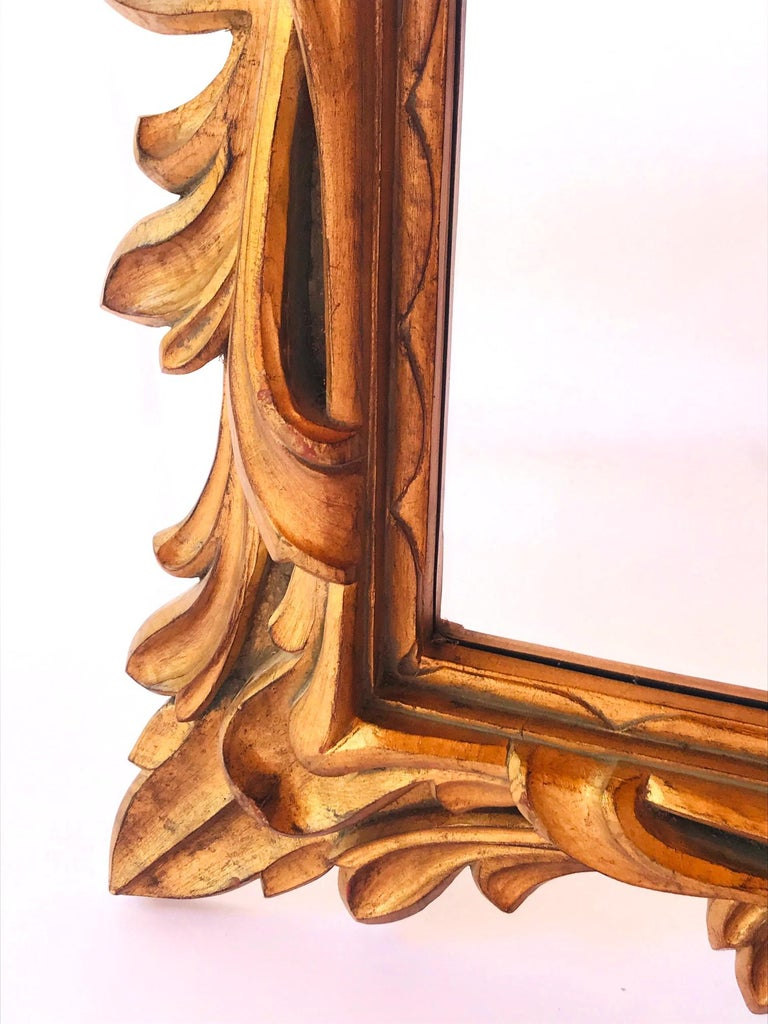 Monumental Baroque Gold Leaf Mirror with Ornate Carved Frame In Good Condition For Sale In Stamford, CT