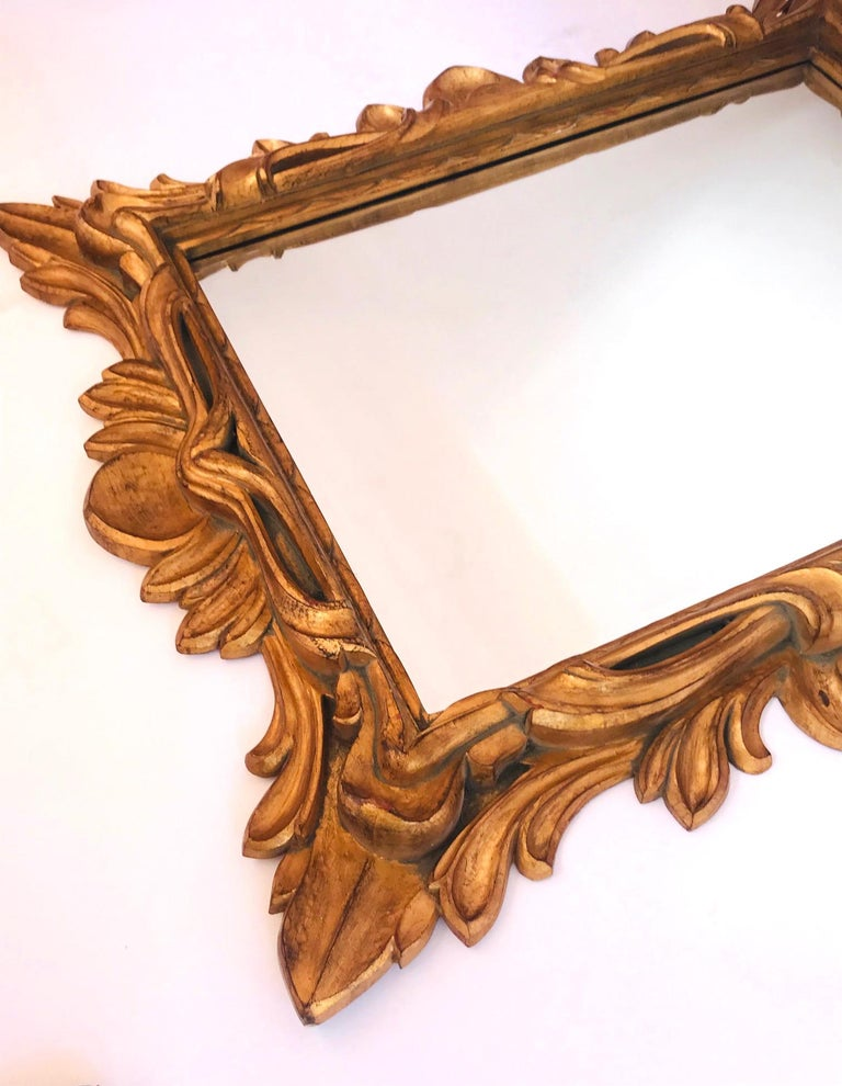 Late 20th Century Monumental Baroque Gold Leaf Mirror with Ornate Carved Frame For Sale