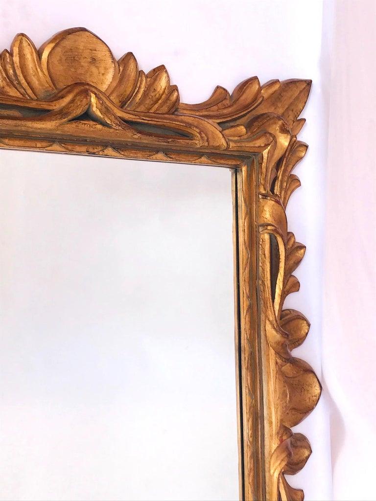 Monumental Baroque Gold Leaf Mirror with Ornate Carved Frame For Sale 2