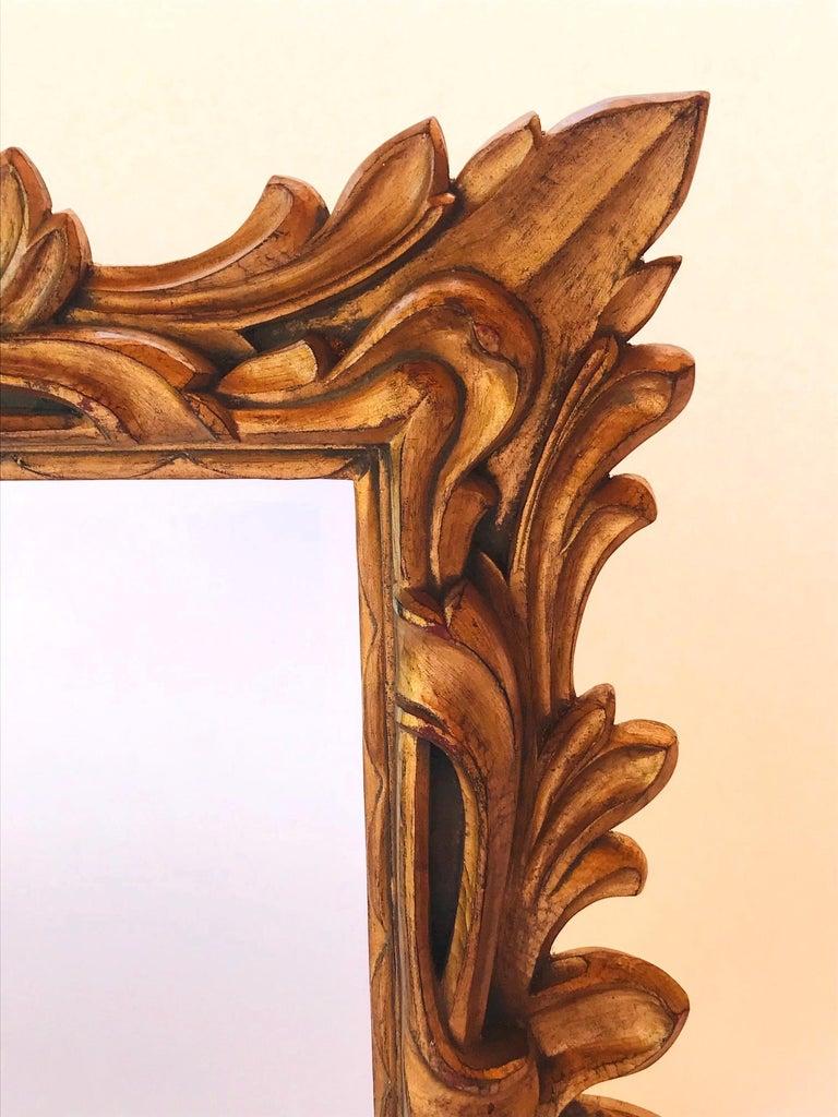Monumental Baroque Gold Leaf Mirror with Ornate Carved Frame For Sale 3