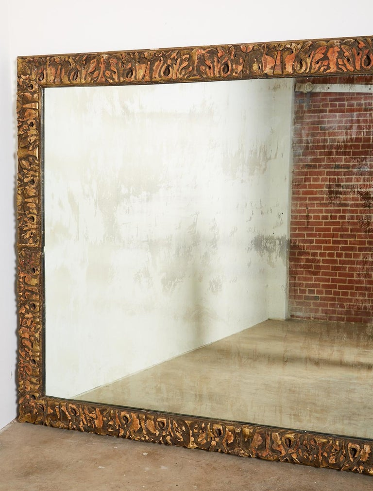 Monumental Baroque Style Parcel Gilt Carved Mirror For Sale 4
