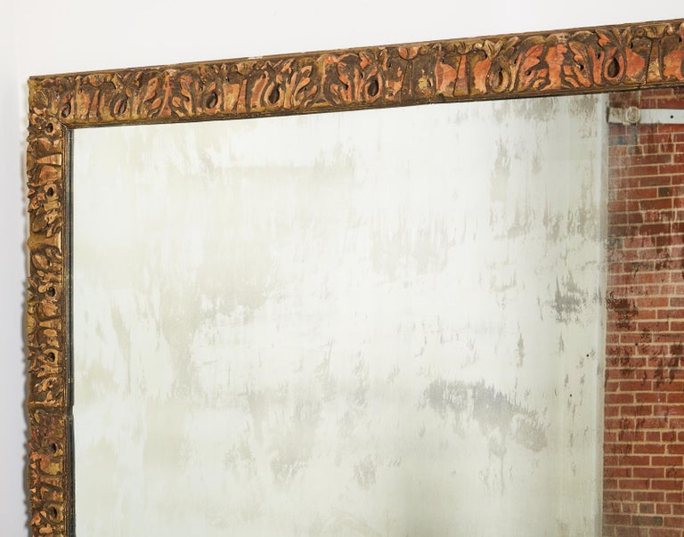 Monumental Baroque Style Parcel Gilt Carved Mirror For Sale 6