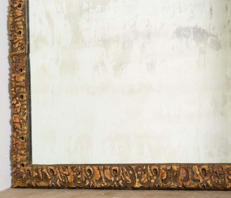 Monumental Baroque Style Parcel Gilt Carved Mirror For Sale 7