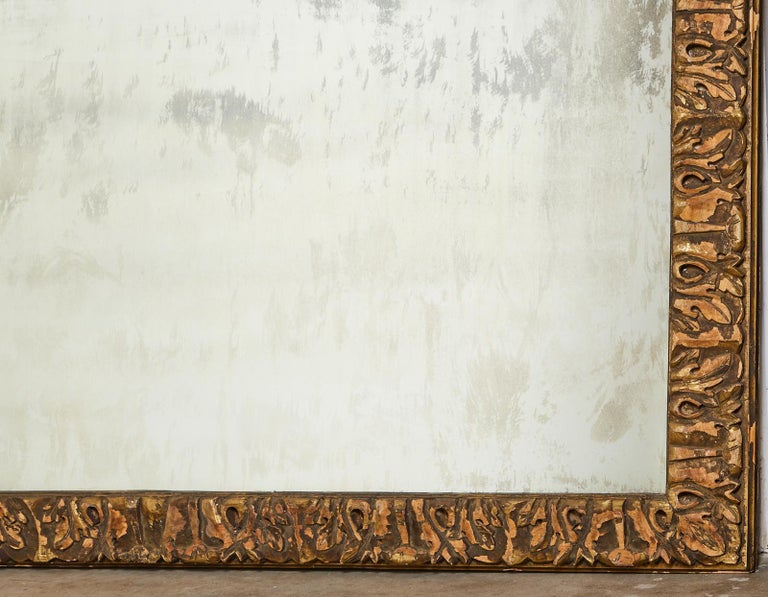 Monumental Baroque Style Parcel Gilt Carved Mirror For Sale 12