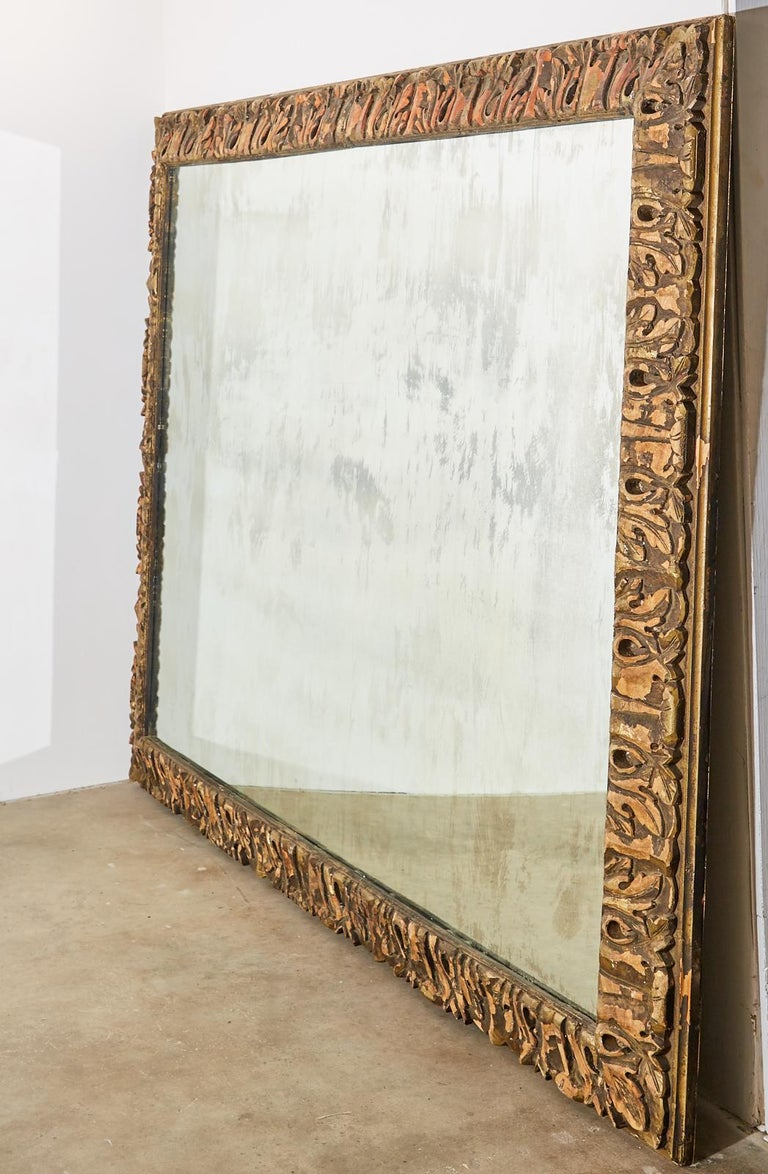 Monumental Baroque Style Parcel Gilt Carved Mirror In Good Condition For Sale In Rio Vista, CA