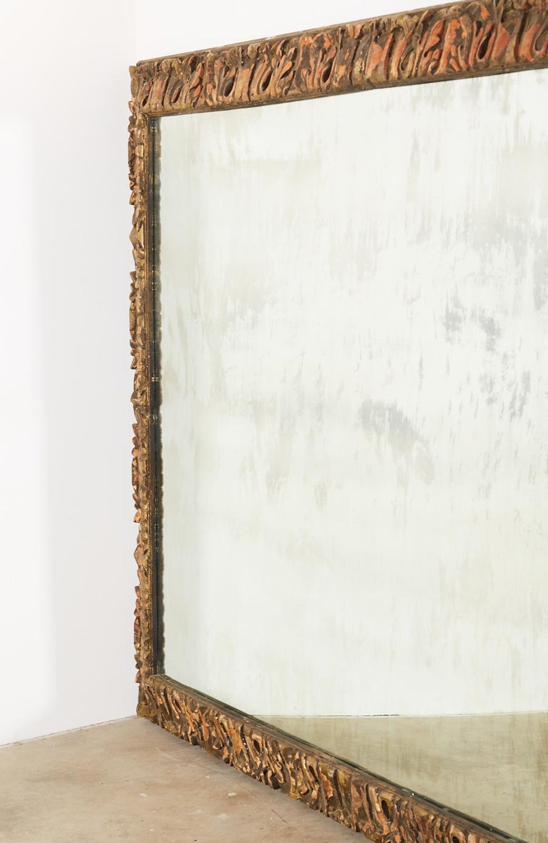 Wood Monumental Baroque Style Parcel Gilt Carved Mirror For Sale