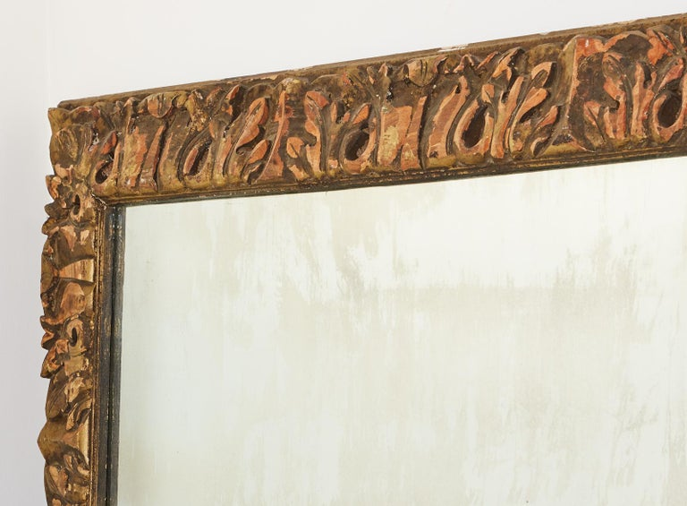Monumental Baroque Style Parcel Gilt Carved Mirror For Sale 1