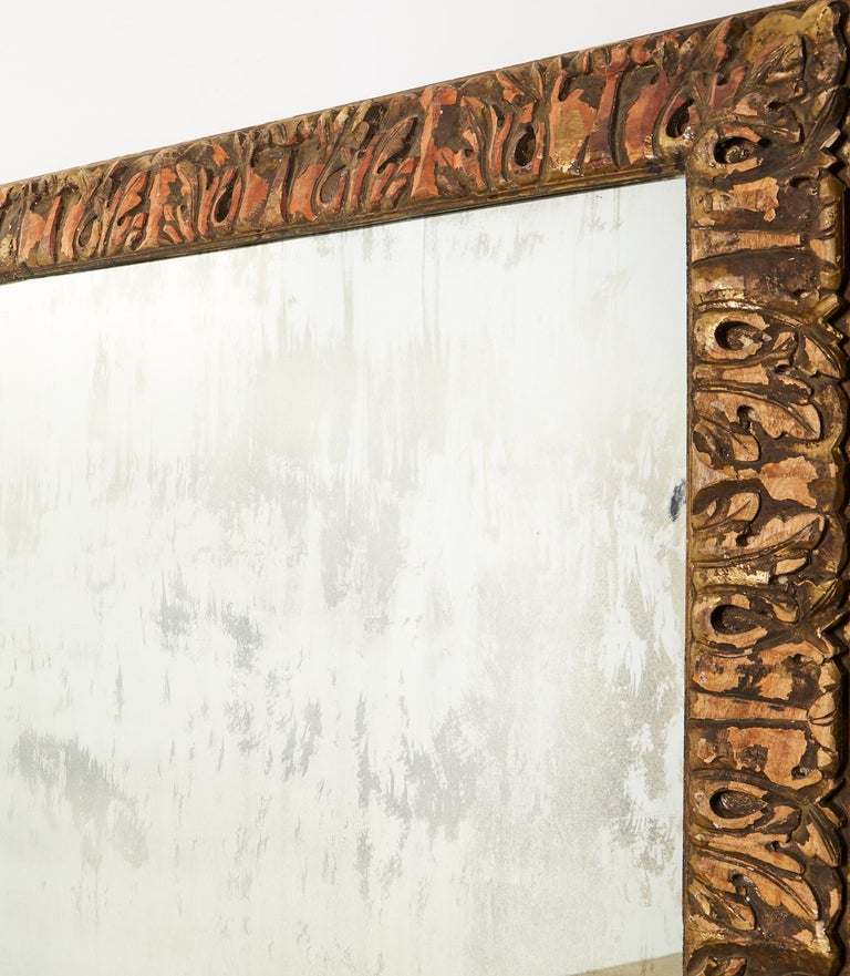 Monumental Baroque Style Parcel Gilt Carved Mirror For Sale 2