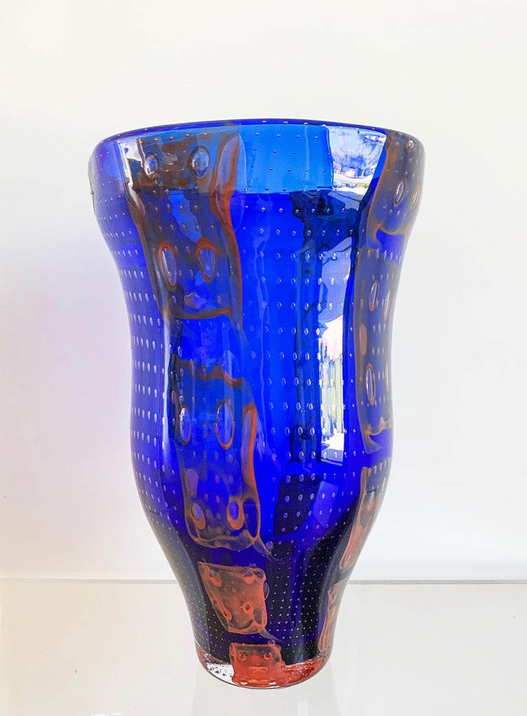 Monumental Barovier e Toso Murano Modern Glass Vase In Good Condition For Sale In Los Angeles, CA