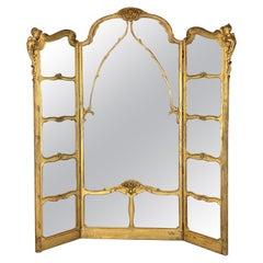 Monumental Belle Époque Carved Giltwood Dressing Mirror, Paris, circa 1880