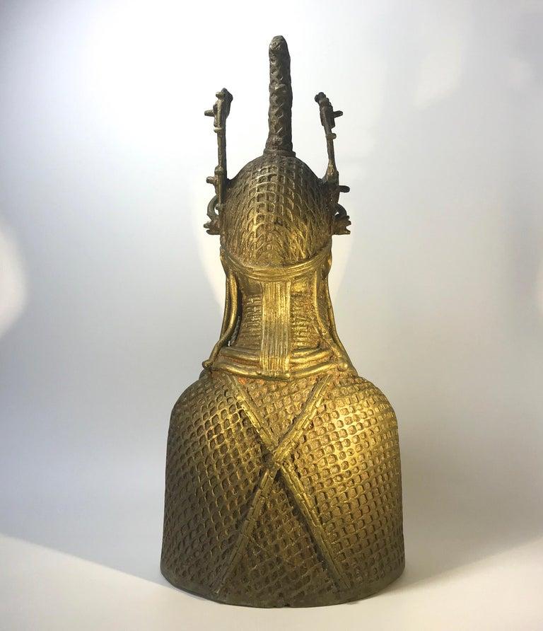 Cast Monumental Benin King Oda of Nigeria West African, Midcentury Tribal Figure