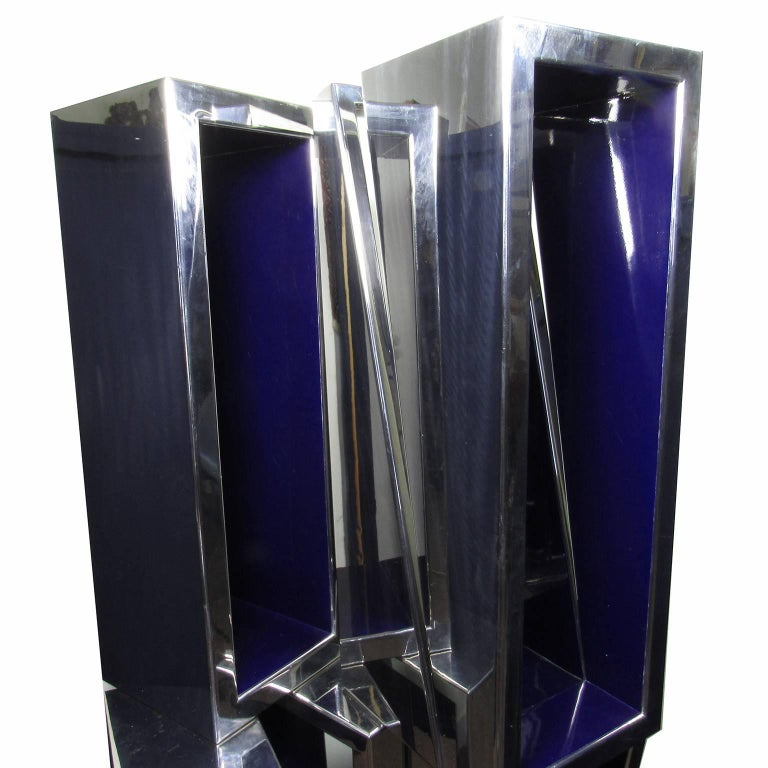 Beverly Pepper (American, b. 1922) untitled, 1968. Steel sculpture in four parts with blue painted interior. Unsigned. Measure: Height 65 1/4 inches; width 36 inches; depth 30 inches. Purchased by current owner from Joan Sonnabend and the Obelisk